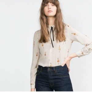 Zara ballerina print button up blouse
